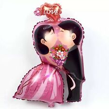 "Wedding couple Bride Groom foil helium balloon 60cm x 44cm  24"" x 17"" kissing"