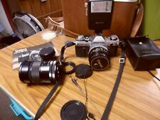 Canon AE-1 Silver 35mm SLR Film Camera + FD 50mm F/1.8 Lens With Extras