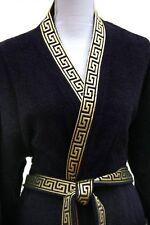 Mäander Wellness Bademantel Schwarz-Gold 100% Baumwolle Medusa Kimono versac