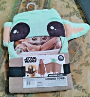 Disney Star Wars Baby Yoda Hooded Bath Towel with Ears From The Mandalorian NEW