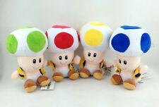 """4X Super Mario Bros Toad Species Yellow Red Blue Green Soft Plush Toy Figure 6"""""""