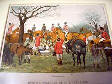 Antique full color print c1870  English Fox Hunting  Matted  Excellent Condition