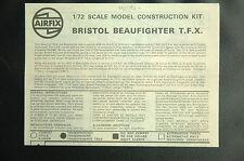 1/72ème   PLAN DE MONTAGE POUR BRISTOL BEAUFIGHTER T.F.X. - POUR KIT AIRFIX
