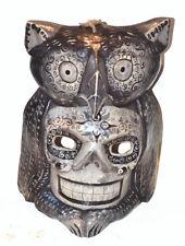 DAY OFTHE DEAD OWL MASK HAND CARVED WOOD GUATEMALAN FOLK ART