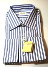 NEW BRIONI SHIRT 16 Men's Blue White 100% Cotton 41 Eu French Cuff $550