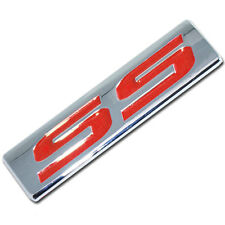 CHROME/RED METAL SS ENGINE RACE MOTOR SWAP EMBLEM BADGE FOR TRUNK HOOD DOOR