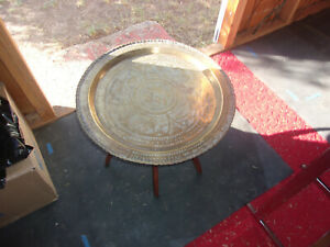 MID CENTURY Coffee Table Brass Tray Teak Folding Spider Legs Hong Kong Serpent