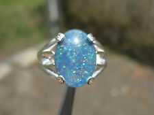 3.80ct NATURAL BLACK OPAL RING in STERLING SILVER, PLAY OF COLOR AMAZING, LOOK!!