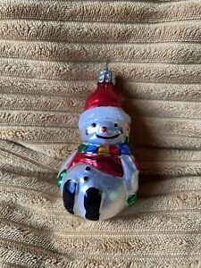 vintage Retro glass Snowman Christmas decoration