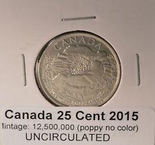 2015 Poppy Quarter No Colour type - 25cent