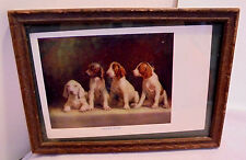"""R. Atkinson Fox Signed Puppies, """"Young Dogs"""" Post Card 6.5""""x4.5"""" Framed Vintage"""