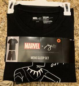 Marvel Justin Harder Men's Sleepwear Set Black Sz Med Black Panther NWT !!