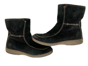 Timberland Ankle Boots 69364 Womens 10 M Black Suede Side Zip Moc Toe Fleece