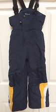 TAG Blue Yellow Insulated Snowsuit Bib Adjustable Straps Cinched Ankles Size 3