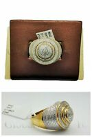 Real New 10k Yellow Gold Men's Round Lollipop Style Pinky Ring with 1 CT Diamond