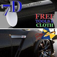 6ft X 5ft 7D Black GLOSSY Carbon Fiber Vinyl Wrap Sheet With Air Release