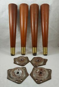"""4 VIntage Mid Century Modern MCM 10"""" Tapered Furniture Legs with Angled Plates"""