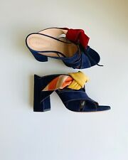 Chloe Nellie Navy Blue Suede Bow Mule Sandals Size 38