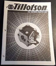 New listing Tillotson Carburetors Hu Series Parts Manual Snowmobiles 19 Pages (702)
