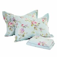 Fadfay 4-Piece Blue Floral Print Bed Sheet Set Cotton Bed Sheets, King