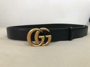 GUCCI Marmont Belt Double G 110cm Genuine Black leather Gold  Buckle 35mm 3.5cm
