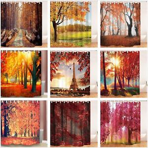 Beautiful Tree Leaves in Fall Bathroom Fabric Shower Curtain 84 Inch Extra Long