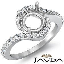 Platinum 0.35Ct Curve Shank Halo Pave Diamond Engagement Ring Round Semi Mount
