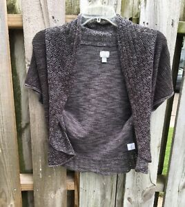 Converse Gray Knit Cropped Cardigan Sz S Open Front Short Sleeve Crochet