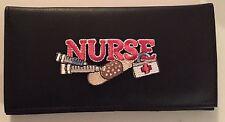 Nurse Design Black Leather Checkbook Cover RN Gifts