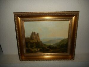19th Century oil painting +- 1850, { Landscape with a traveller, is signed }.