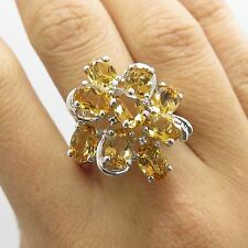 925 Sterling Silver Natural Citrine Gemstone Diamond Large Ring Size 7