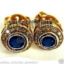 Halloween Special 1.18Cts Rose Cut Diamond Blue Sapphire Silver Studs Jewelry
