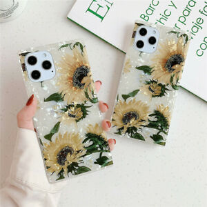 For iPhone 11 12 Pro Max Cover Skin Luxury Matte Square Leopard Print Phone Case