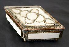 Antique 'Optical Illusion' Bone, Metal, Diamond Shaped Lidded Trinket Box