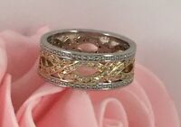 Vintage Art Deco Jewellery Gold Band Ring with White Sapphires Antique Jewelry O