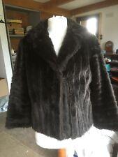 Ladies Vintage Short Brown Faux Fur Coat Jacket Small - Medium
