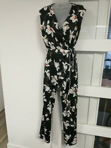Lipsy Pink Floral Strappy  Summer Jumpsuit size 14 BNWT