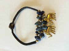 Gemstone with Bronze Elephant Bracelet Handmade in Cambodia
