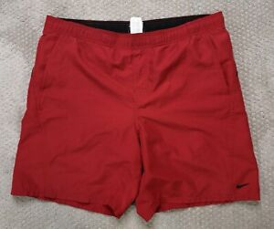 Nike Men's Swim Trunks Board Shorts Red Black Mesh Lined Size Large