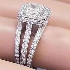 14K WHITE GOLD PRINCESS CUT DIAMOND ENGAGEMENT RING TRIPLE SHANK HALO 2.30CTW