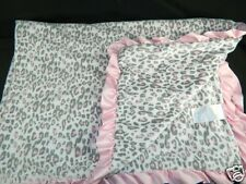 Carters Pink Leopard Cheetah Print Baby Blanket Pink Ruffle Trim