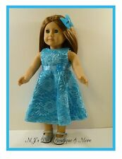 Turquoise Satin & Lace Party Dress fits American Girl Doll