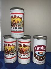 Beer Cans Old Dutch Brand & Karlsbrau Old Time Beer Neat Lot Of 4 Cans