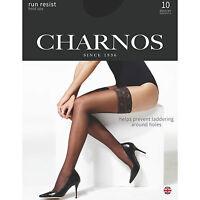 Charnos 10 Denier Run Resist Hold Ups. Black, Barely Black, Natural Tan, Nude.