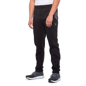 Men's Spyder Logo Jogger Joggers Sweat Pants Heather Black Size Large L