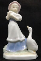 "Little Country Girls with Geese ""Cuddle Me"" Porcelain Figurine by Aspen Gallery"