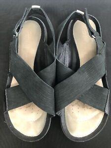 Ladies Clarks Trigenic Black Sandals Uk Size 6 D Width Slingback