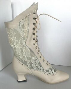 """Ivory Leather & Lace Victorian, Handmade Soft Leather, Boots, 2"""" Curved Heel"""