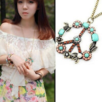 Women Vintage Flower Peace Sign Pendant Long Chain Sweater Necklace Jewelry USA