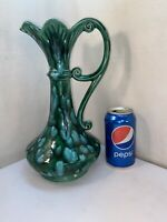 Vtg 70's Ceramic Art Hippie Green Blue Drip Psychedelic Vase Genie Pitcher